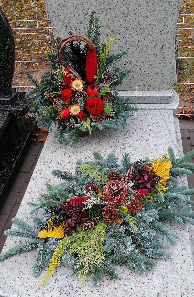 Wszystkich Świętych stroiki na cmentarz, kompozycje, bukiety kwiatowe